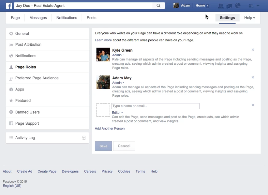 how to add admins to a facebook page
